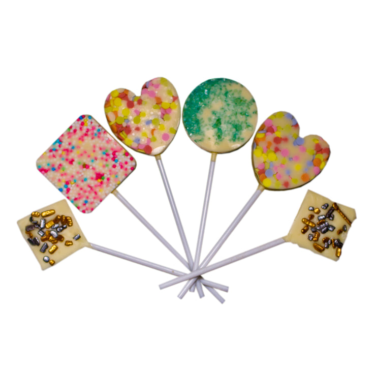 White Chocolate Lollypops with Sprinkles 9 pcs