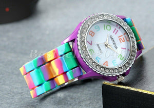 Womans Rhinestone Watch - Womans Rainbow Watch - Girls Rainbow Watches - Girls Rhinestone Watch