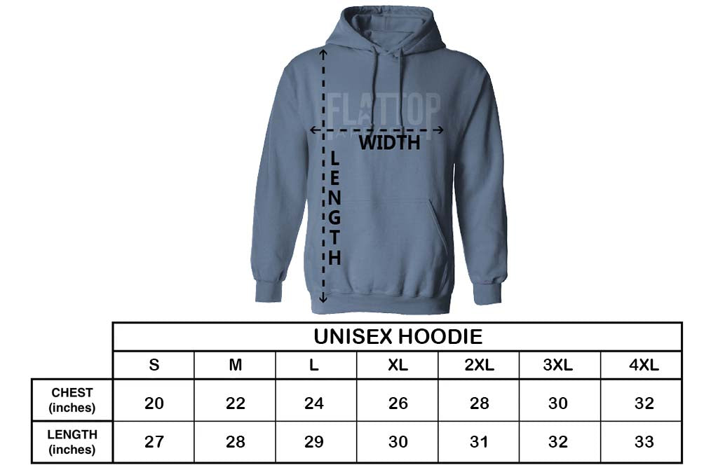 Flat Top Apparel - Unisex Hoodie Sizing Chart