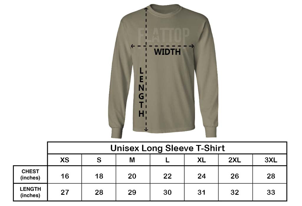 Flat Top Apparel - Unisex Long Sleeve T-Shirt Sizing Chart