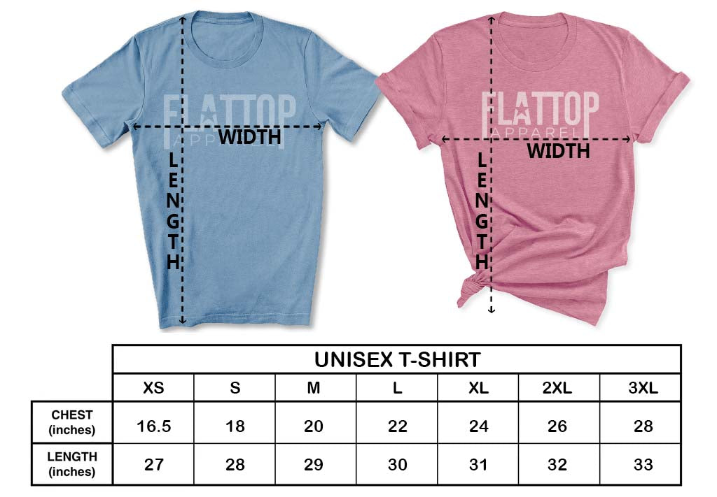 Flat Top Apparel - Unisex T-Shirt Sizing Chart
