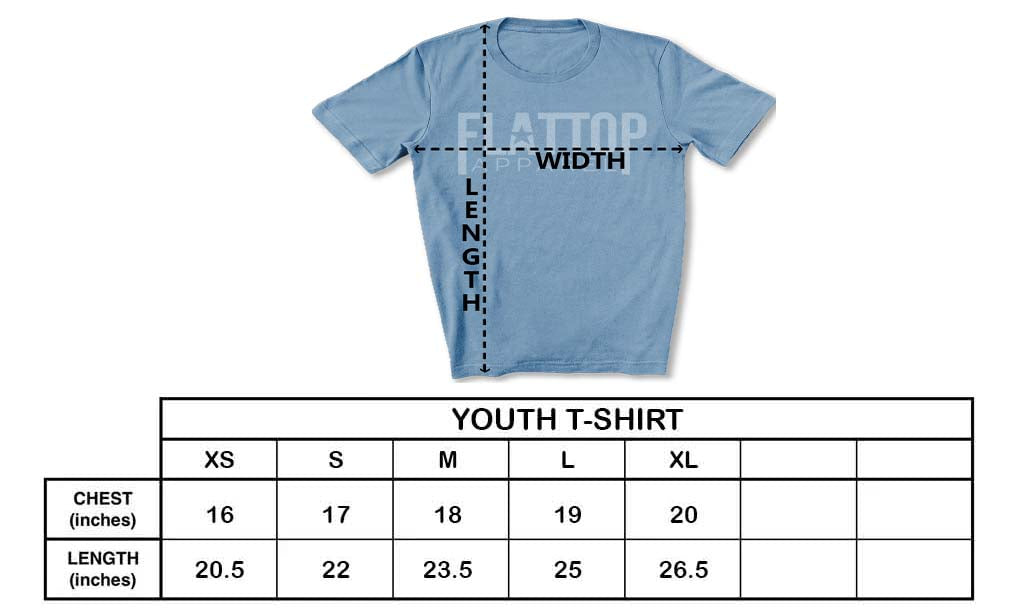 Flat Top Apparel - Unisex Youth T-Shirt Sizing Chart