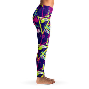 90's Retro Oldschool Women's Leggings Right Side Model