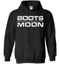 Load image into Gallery viewer, Boots on the Moon Distressed Hoodie in Black