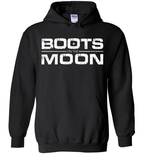 Boots on the Moon Distressed Hoodie in Black