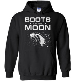 Boots on the Moon with Footprint Hoodie in Black