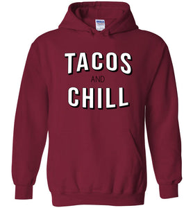 Tacos and Chill Hoodie in Cardinal Red