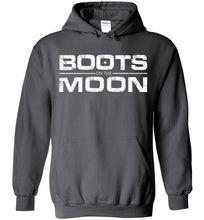 Load image into Gallery viewer, Boots on the Moon Distressed Hoodie in Charcoal
