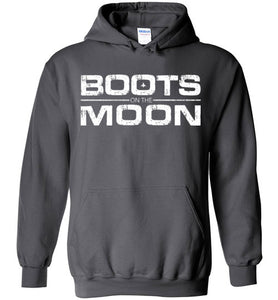 Boots on the Moon Distressed Hoodie in Charcoal