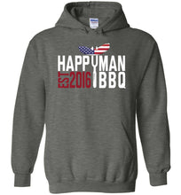 Load image into Gallery viewer, Patriotic HappyMan BBQ Hoodie in Dark Heather