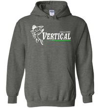 Load image into Gallery viewer, Vertical Jigs and Lures Logo Hoodie in Dark Heather