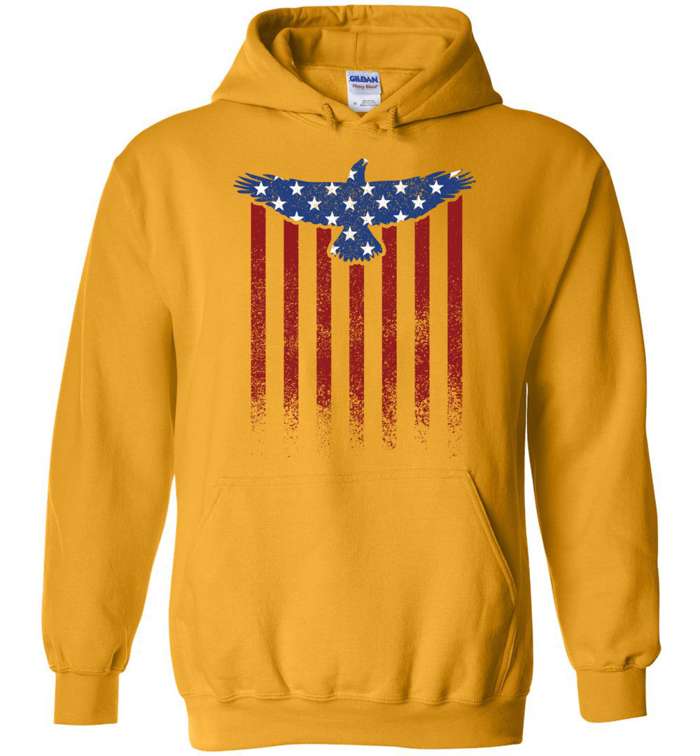 Star Spangled Eagle Flag Hoodie in Gold