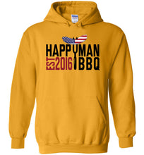 Load image into Gallery viewer, Patriotic HappyMan BBQ Hoodie in Gold