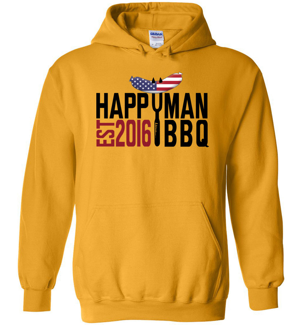 Patriotic HappyMan BBQ Hoodie in Gold