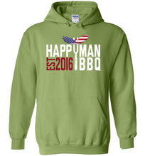 Load image into Gallery viewer, Patriotic HappyMan BBQ Hoodie in Kiwi