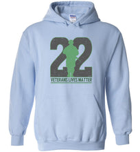 Load image into Gallery viewer, Twenty-Two Lives Matter Hoodie in Light Blue