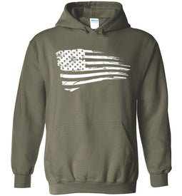 Distressed US Flag Hoodie in Military Green