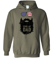 Load image into Gallery viewer, Cool AF Dad Beard Hoodie in Military Green