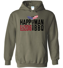 Load image into Gallery viewer, Patriotic HappyMan BBQ Hoodie in Military Green