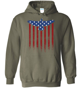 Star Spangled Eagle Flag Hoodie in Military Green