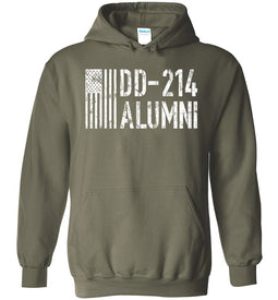 DD-214 Alumni Veteran Hoodie in Military Green