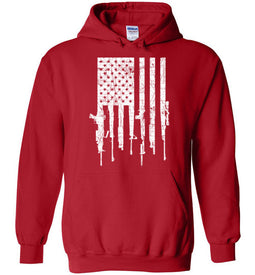 American Gun Flag Hoodie in Red