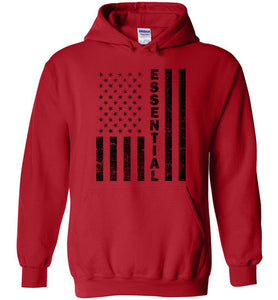 Essential Employee Flag Hoodie in Red