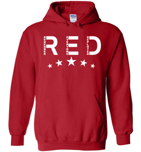 RED Friday with Stars Hoodie in Red