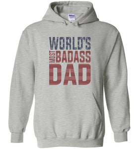 World's Most Badass Dad Hoodie in Sports Grey