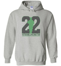 Load image into Gallery viewer, Twenty-Two Lives Matter Hoodie in Sports Grey
