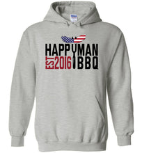 Load image into Gallery viewer, Patriotic HappyMan BBQ Hoodie in Sports Grey