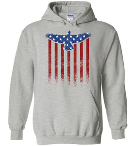 Star Spangled Eagle Flag Hoodie in Sports Grey