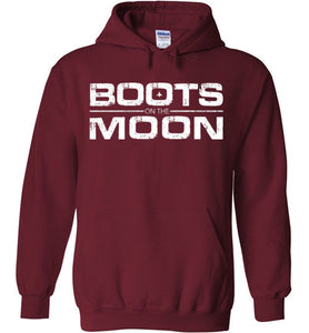 Boots on the Moon Distressed Hoodie in Garnet