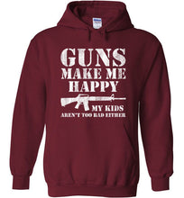 Load image into Gallery viewer, Guns Make Me Happy Hoodie in Garnet