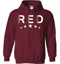 Load image into Gallery viewer, RED Friday with Stars Hoodie in Garnet