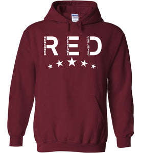 RED Friday with Stars Hoodie in Garnet