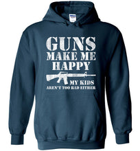Load image into Gallery viewer, Guns Make Me Happy Hoodie in Legion Blue