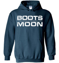 Load image into Gallery viewer, Boots on the Moon Distressed Hoodie in Legion Blue