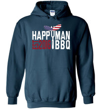 Load image into Gallery viewer, Patriotic HappyMan BBQ Hoodie in Legion Blue