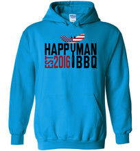 Load image into Gallery viewer, Patriotic HappyMan BBQ Hoodie in Sapphire