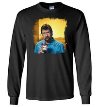 Load image into Gallery viewer, Chuck Norris Drinking Coronavirus Long Sleeve T-Shirt in Black