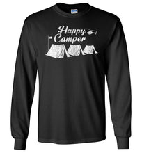 Load image into Gallery viewer, Happy Camper Long Sleeve T-Shirt in Black