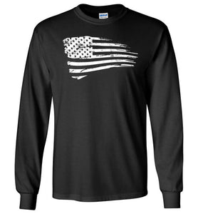 Distressed US Flag Long Sleeve T-Shirt in Black