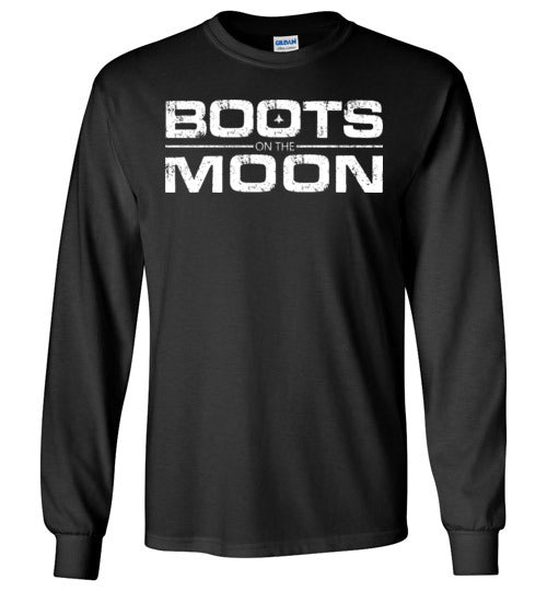 Boots on the Moon Distressed Long Sleeve T-Shirt in Black