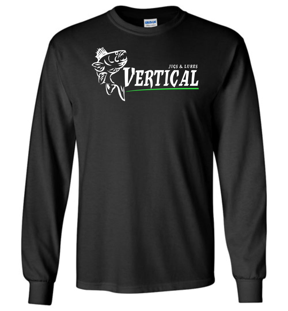Vertical Jigs and Lures Logo Long Sleeve T-Shirt in Black