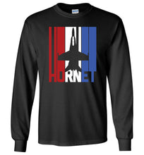 Load image into Gallery viewer, Red White and Blue F-18 Hornet Long Sleeve T-Shirt in Black
