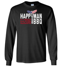 Load image into Gallery viewer, Patriotic HappyMan BBQ Long Sleeve T-Shirt in Black