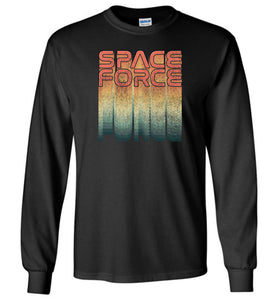 Rainbow Space Force Long Sleeve T-Shirt in Black