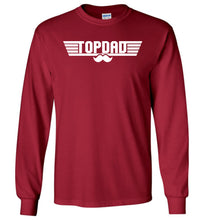 Load image into Gallery viewer, Top Dad Long Sleeve T-Shirt in Cardinal Red