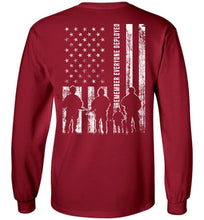 Load image into Gallery viewer, Remember Everyone Deployed RED Long Sleeve T-Shirt in Cardinal Red